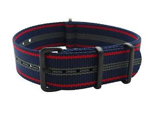 【送料無料】hns 20mm mod g10 blue red strip heavy diver nylon army raf watch pvd strap