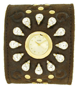 guess 12545l1 womens round analog clear stones brown suede acrylic wool watch