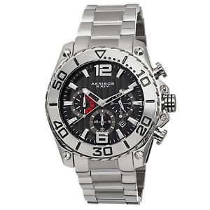 【送料無料】mens akribos xxiv ak639ss sport chronograph date stainless steel bracelet watch