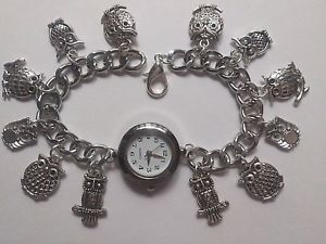 【送料無料】handmade silver owl charm bracelet watch with 12 charms 20cm long b