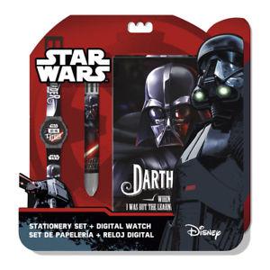 【送料無料】star wars setdigital watch notebookmulti colour pen icial licensed