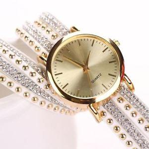 【送料無料】women watch crystal rivet bracelet quartz braided winding wrap wrist watch