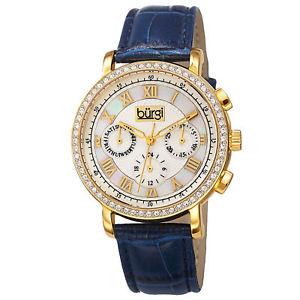 【送料無料】 womens burgi bur087bu swiss quartz multifunction blue leather strap watch
