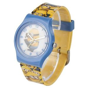【送料無料】icial childrens minions yellow plastic analogue watch