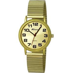 【送料無料】ravel gents gold stainless steel soft expandable bracelet strap watch r0208051