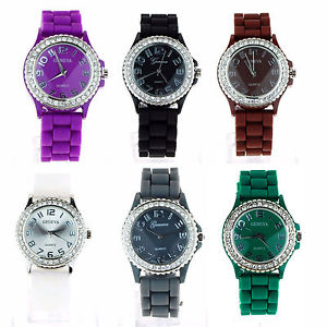 geneva womens silicone round rhinestone bezel pop color round analog wrist watch