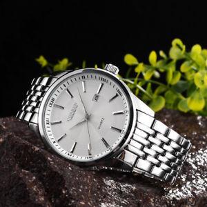 【送料無料】orologio da polso curren 8071 uomo analogico quarzo elegante acciaio data bi lac