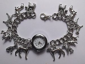 【送料無料】handmade silver dog charm bracelet watch with 12 charms 20cm long b