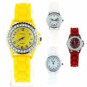 【送料無料】geneva womens silicone round rhinestone bezel pop color small wrist watch