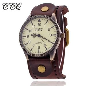【送料無料】ccq vintage cow leather bracelet watch high quality antique women wrist watch lu