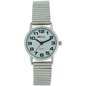 【送料無料】ravel ladies stainless steel soft expanding bracelet strap watch r0208022s