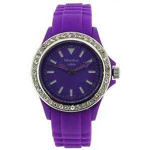 【送料無料】fahrenheit analogue ladies girls stone set bezel purple silicone strap watch