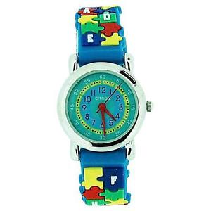 【送料無料】citron analogue girls boys time teacher jigsaw blue silicone strap watch kid46