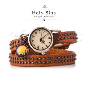 【送料無料】retro vintage lady women wrap around bracelet leather quartz watch 015