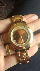 【送料無料】yves rocher signed lbvyr ladies rose gold coloured watch with crystals working