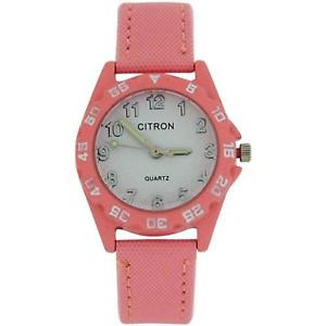 【送料無料】citron quartz analogue girls kids light pink nylon strap watch kid135b