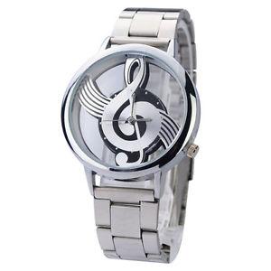 【送料無料】watch music note stainless steel case amp; strap quartz silver colour