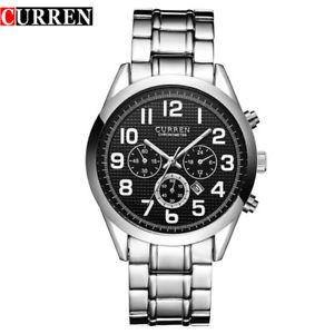【送料無料】orologio da polso curren 8050 uomo analogico quarzo moderno acciaio data ner lac