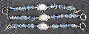 【送料無料】3 alberto fiore stainless steel wrist watch glow in the dark blue bead bracelet