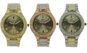 【送料無料】prince london ny ladies coloured metal watch stone set bezel brushed strap 7805