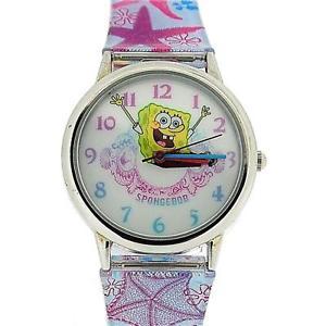 【送料無料】spongebob squarepants childrens analogue metal bezel star fish pu strap sb41