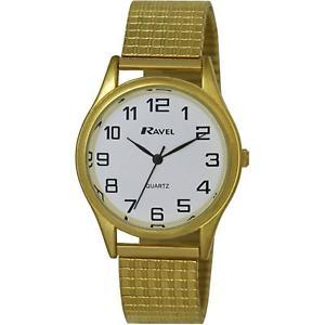 【送料無料】ravel gents gold stainless steel soft expandable bracelet strap watch r030107