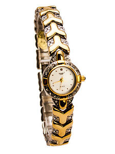 【送料無料】monduwomens gold and silver finish round case analog watch