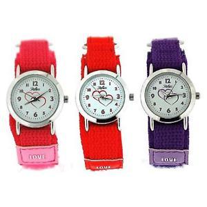 【送料無料】set of 3 reflex girls red pink purple easy fasten fabric watch gift for kid