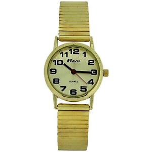 【送料無料】ravel ladies gold stainless steel soft expanding bracelet strap watch r0208052