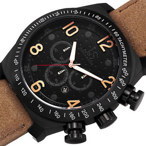 mens joshua amp; sons js14tn chronograph quartz movement suede strap watch