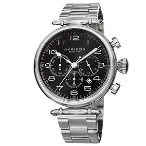 【送料無料】mens akribos xxiv ak764ssb grandiose chronograph stainless steel bracelet watch
