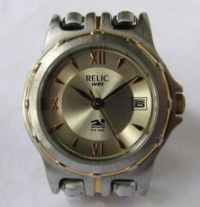 【送料無料】relic quartz date watch two tone bracelet