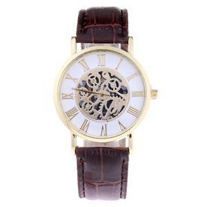 【送料無料】gold cog themed brown pu leather ladies fashion watch
