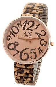 【送料無料】leopard designer round watch expander bracelet big display ny london ladies
