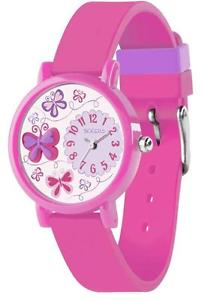 【送料無料】tikkers girls stunning butterfly pattern pink silicone strap watch tk0074