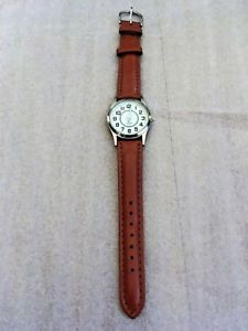 【送料無料】ladiesmens quartz watch silverbrown strap