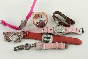 【送料無料】vintage watch lot costume jewelry ladies dress pink amp; red quartz watches