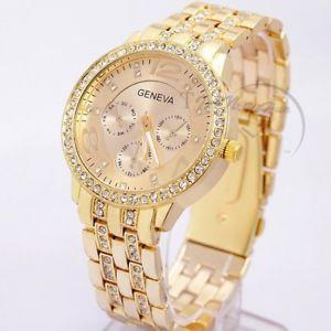 【送料無料】women gold geneva stainless steel quartz watch military crystal casual analog