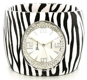 【送料無料】7 womens ladies geneva crystal hinged acrylic wide cuff fashion wrist watch