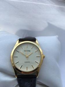 【送料無料】unistar mens gold plated analogue quartz leather strap watch