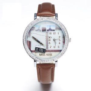 【送料無料】silver circular rhinestone alloy watch ladies brown leather wristwatches quartz
