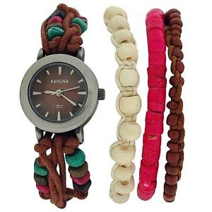 【送料無料】kahuna brown string bead bracelet watch toggle closure setof 2, aklf0011l