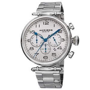 【送料無料】mens akribos xxiv ak764ss grandiose chronograph stainless steel bracelet watch