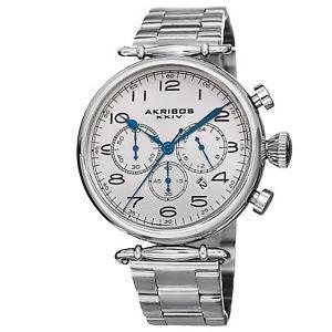 【送料無料】mens akribos xxiv ak764ss grandiose chronograph stainless steel bracelet watch