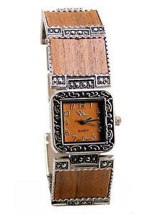 【送料無料】vianovawomens antique look wood veneerdark links analog quartz watch