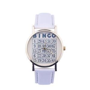 【送料無料】1x white womens casual leather quartz analogue novelty bingo gift wrist watch
