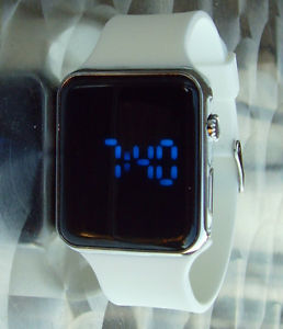 【送料無料】led watch white rubber strap silver colour metal case