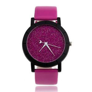 【送料無料】womans glitter purple quartz watch with white hands smooth purple strap