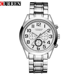 【送料無料】orologio da polso curren 8050 uomo analogico quarzo moderno acciaio data bia lac