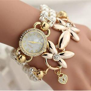 【送料無料】luxury pearl bracelet wristwatch flowers rhinestone quartz watch women ladie